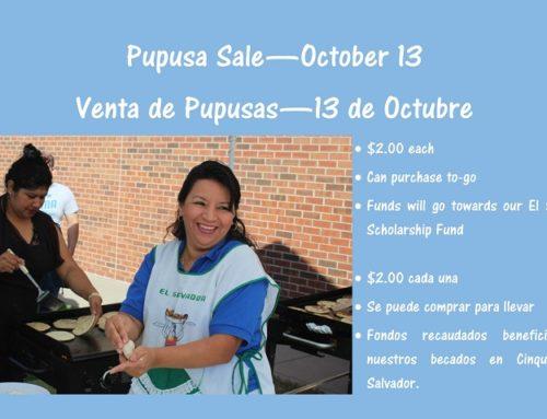 Pupusa Sale – October 13