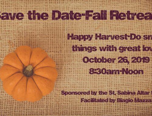 Fall Retreat – October 26