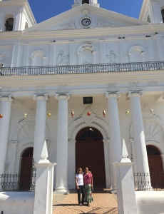 Kris and Jeannine in front of the Santa Lucia church in Suchitoto